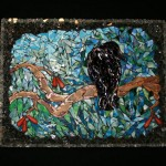 Mosaic picture of a crow sitting on a branch
