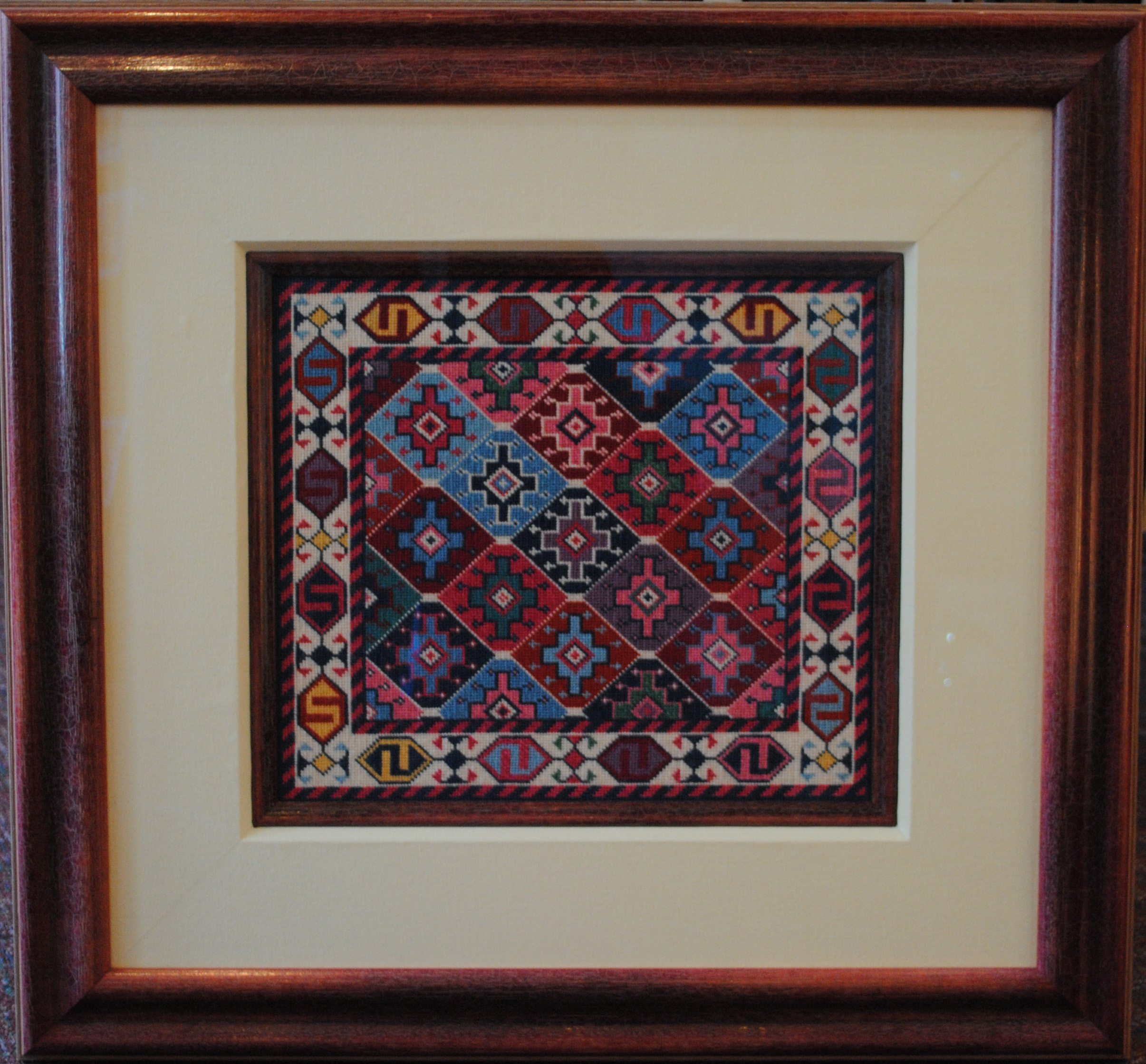Antique Rug Needlepoint Reproduction - Village Frame & Gallery