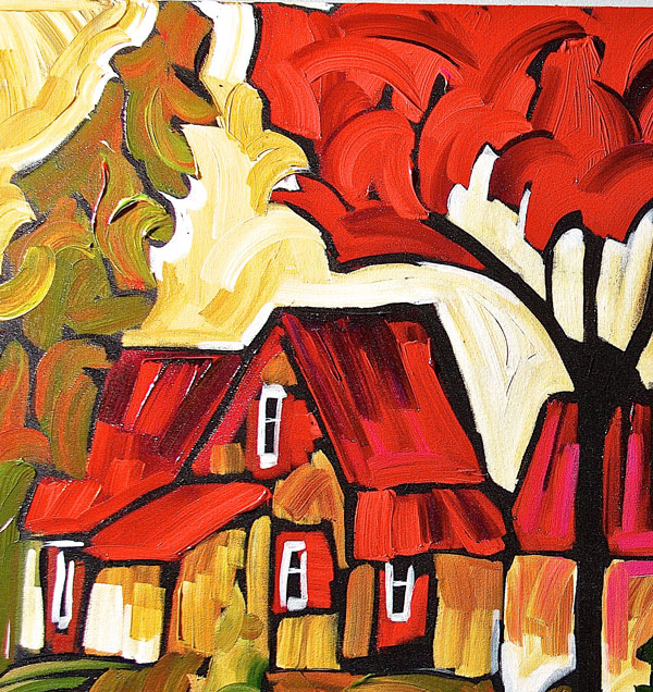 Colorful house under red and green tree canopy with a bright yellow sun overhead.