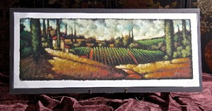 Painting of rolling hills covered in grapevines