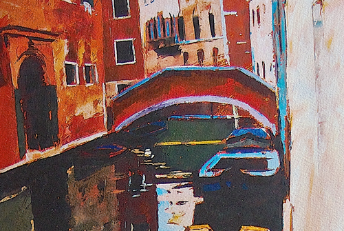 Image of painting of boats on a city canal by Jeremy Sanders