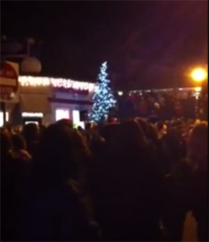 Image of tree lighting in Multnomah Village 2011