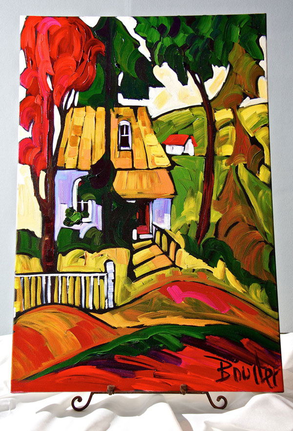 Bright colored painting of hut in a rural village.