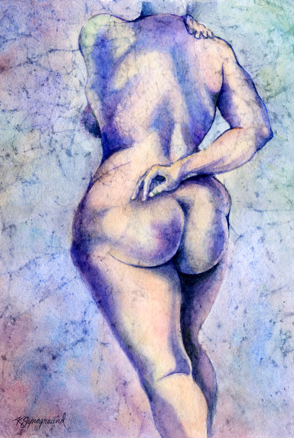 Watercolor of back of voluptuous nude woman in shades of blues and peach