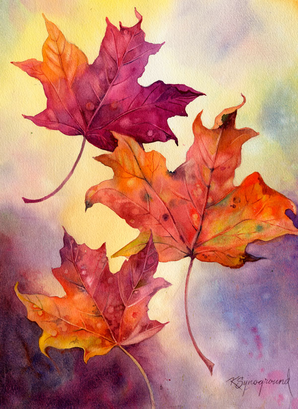 Watercolor of orange and scarlet autumn leaves drifting in front of a blue and gold background