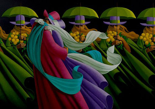 In foreground, a couple in long, flowing colorful coats and hats embrace. Behind them is a line of identical women in lime green coats, hats, and umbrellas--each is holding a bouquet of yellow flowers.