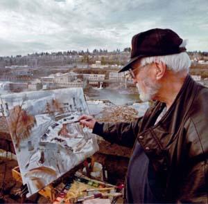 Image of John Waddingham painting cityscape of Portland, Oregon
