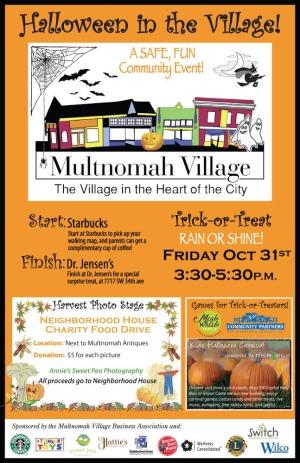 Poster for Halloween celebration in Multnomah Village.