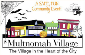 Illustration of Multomah Village shops surrounded by bats, jack-o-lanterns, and a witch flying overhead.