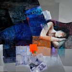 Mixed media painting of woman sleeping