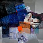 Mixed media painting of woman sleeping