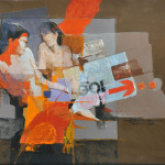 Mixed media painting of two women sitting side by side