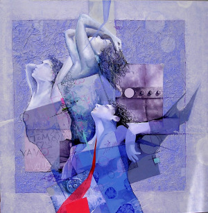 Mixed media painting of men and women writhing in agony.