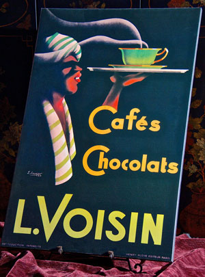Color poster of arab man serving steaming cup of choclate