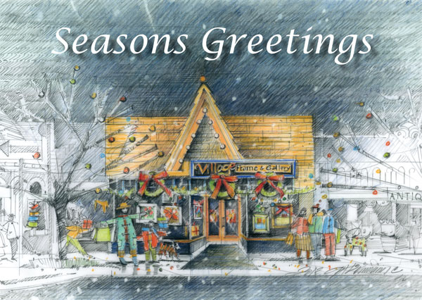 Drawing of Village Frame & Gallery custom picture frame shop and art gallery during Christmas shopping season.