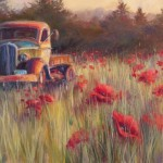 Painting of old truck in the middle of a field of poppies
