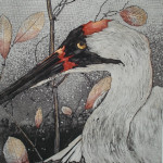 Close up of watercolor painting of heron
