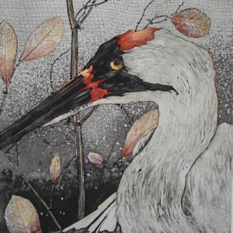 Watercolor painting of heron