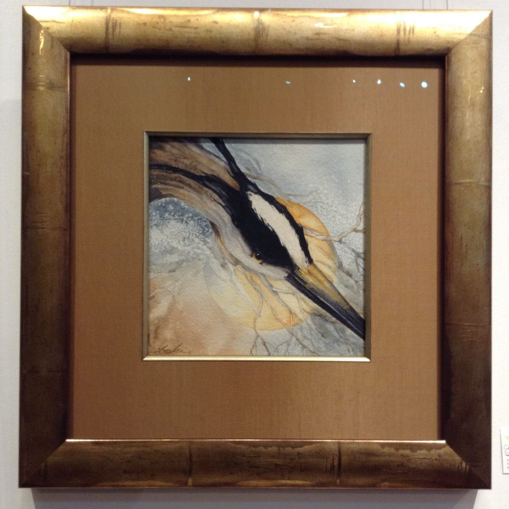 Close up of heron in watercolor with gold matte and frame