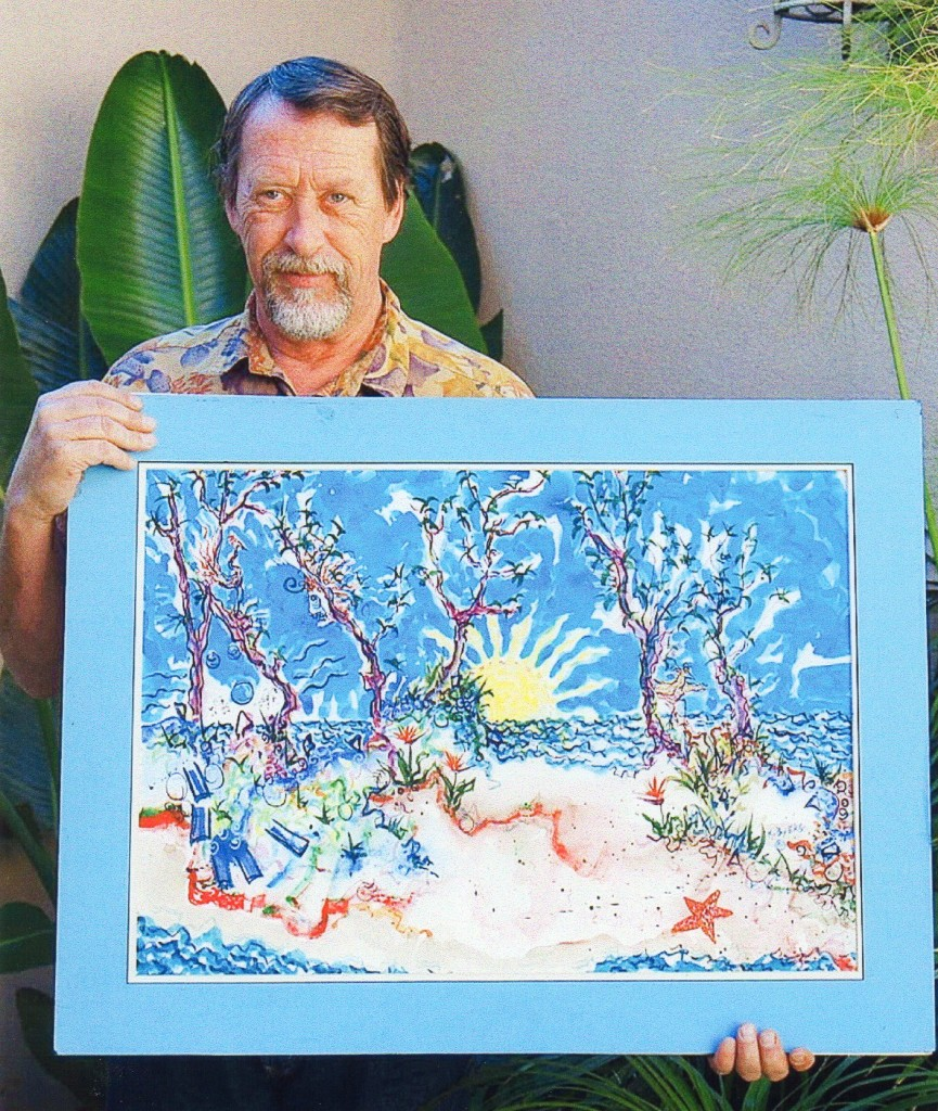 Picture of Kimm Byers holding one of his paintings