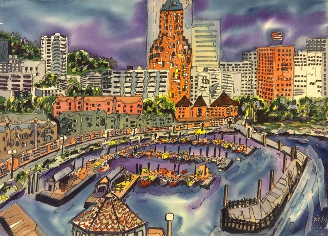 Watercolor painting of Willamette River and surrounding Portland area