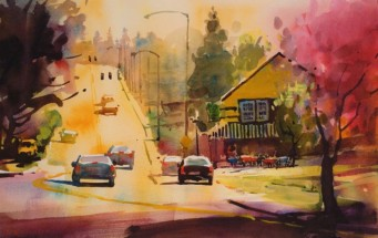 Water color painting of street in Portland, Oregon with houses on right side and cars traveling over a downtown bridge