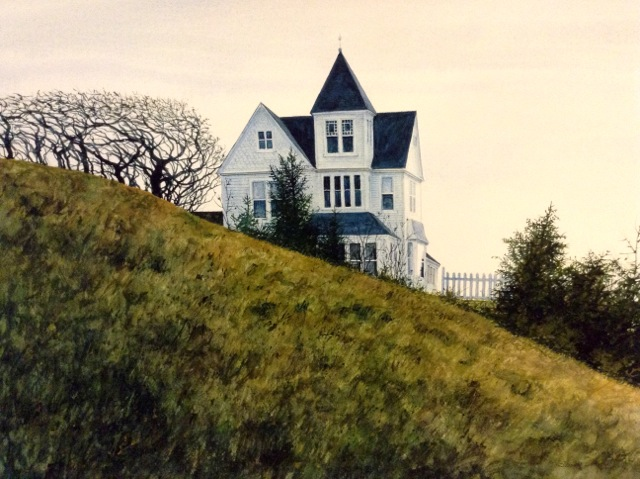 Watercolor painting of historic home on a hill