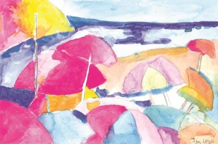 Paintings of umbrellas on beach in pastel colors