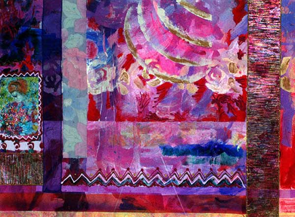 Abstract collage in pinks and purples with lots of swirling designs