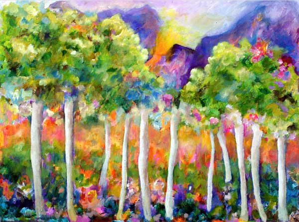 Birch trees in colorful springtime setting