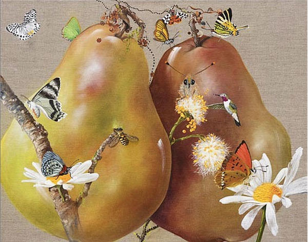Realistic painting of pears surrounded by butterflies and bees