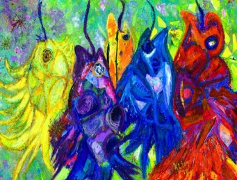 Mixed media painting of very bright colored fish on stringers