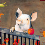 Happy little pig painted by Mary L. Parkes