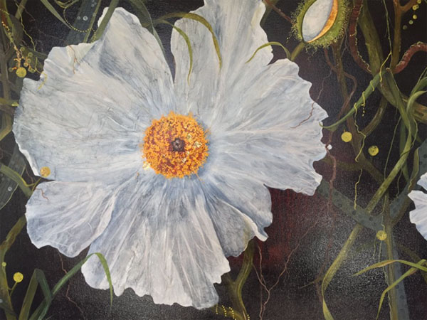 Painting of white poppy against background of leaves, stems, and buds