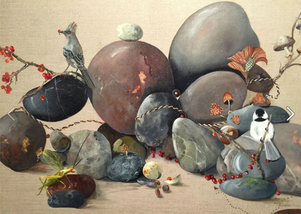 Painting of rocks interspersed with twigs, birds, insects, and flowers