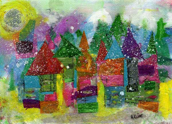 Mixed media painting of colorful, snowy village