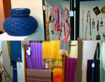 Collage of art for sale at MAC this weekend including bright blue basket, textile arts, and handcrafted jewelry
