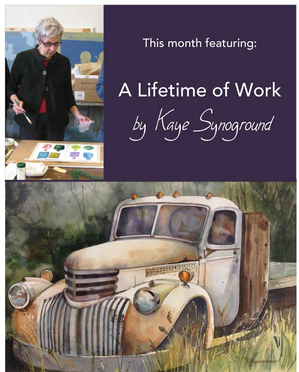 Poster with a picture of Kaye painting and one of her watercolor of a classic truck rusting in the grass.