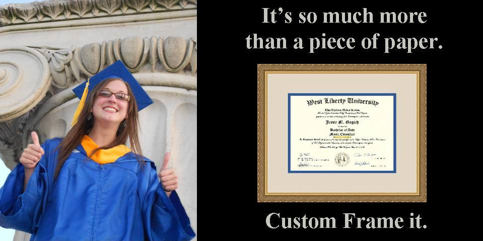 "Picture of a graduate next to a framed diploma which says ""It's so much more than a piece of paper. Custom frame it."""