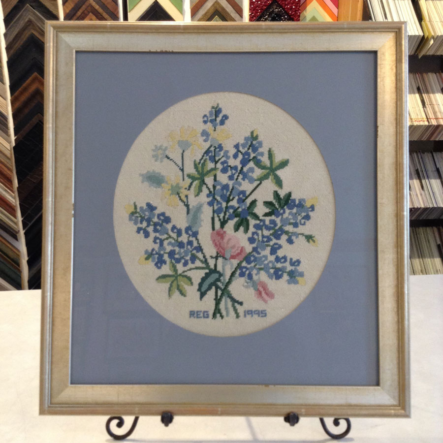 Chair cover embroidered with bouquet of blue flowers, matted and framed