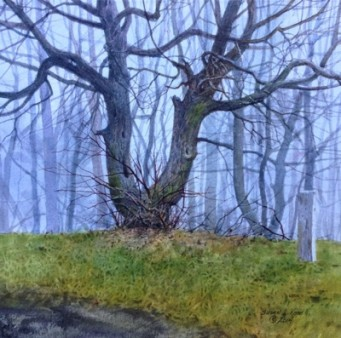 Watercolor painting of leafless tree, surrounded by other trees. The sky is intensely blue and and the grass is green, but the trees are stark and gray.