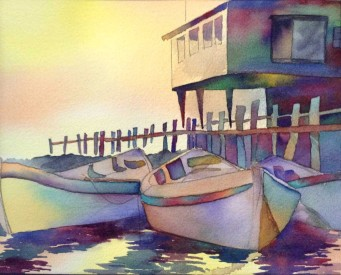 Watercolor painting of boats next to a dock. A building on high stilts is above the dock. The light looks like dawn and is casting a rainbow of colors across the entire scene.