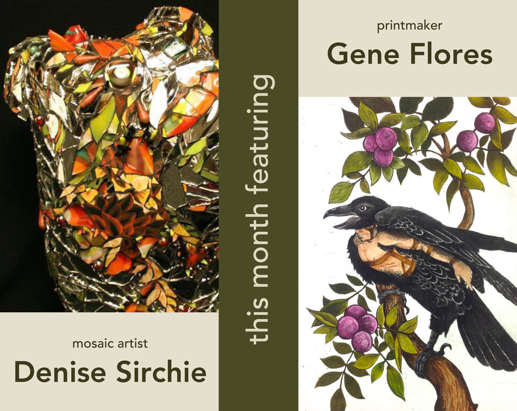 Post card with close ups of one of Denise Sirchie's mosaic sculptures and a print of a bird sitting in a tree by Gene Flores