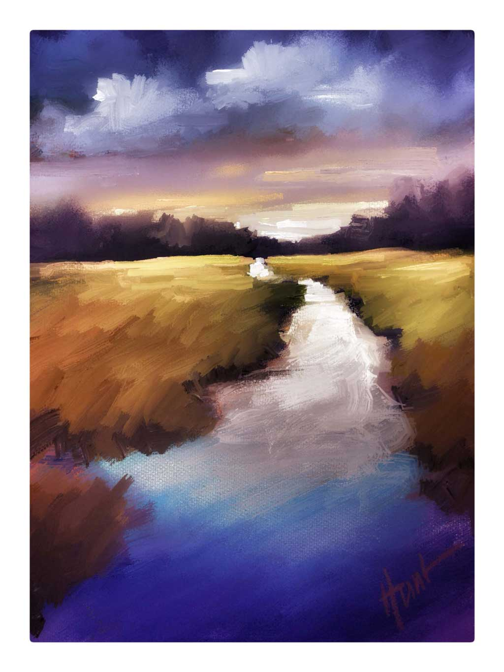 Digital painting of a river that looks white and icy then flows to deep blue at the bottom of the painting. The grass surrounding the river is browning, as if it is Autumn. In the distance is a dark line of trees and the sky above is deeply colored as if the sun will set soon.