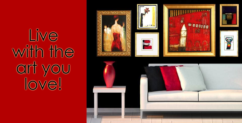 "Postcard that says, ""Live with the Art you Love."" To the right of that is a picture of a room with black walls, sleek white modern furniture and a gallery of artwork in reds, whites, and blacks"