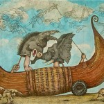 Drawing of antique style of boat. Inside, the puppet heads of a donkey and an elephant seem to be arguing.