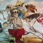 Colorful drawing of four skeletons on a horse, they are wearing elaborate hats and pants.
