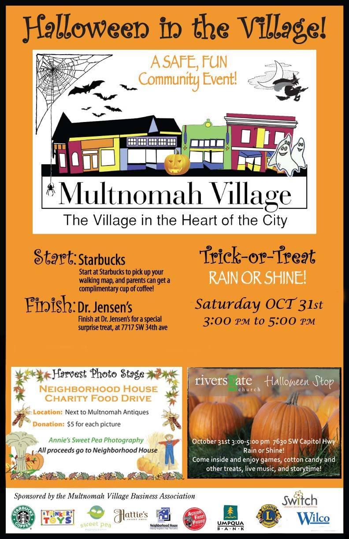 Halloween in Multnomah Village 2015 poster