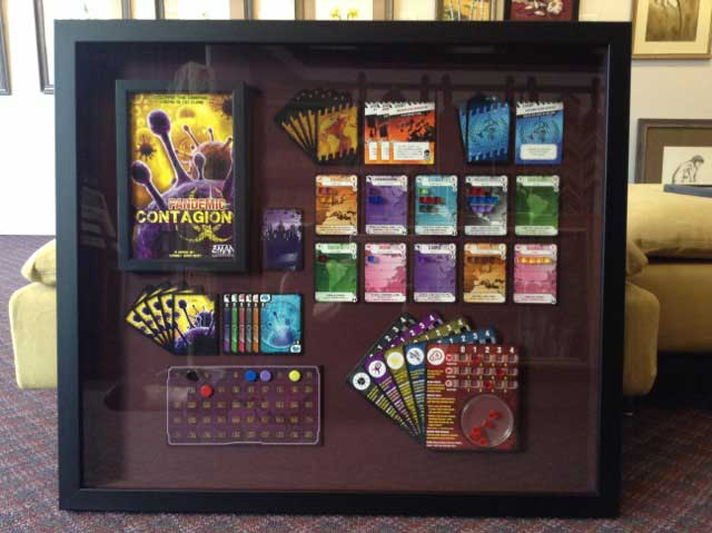 Shadow box display of gaming cards