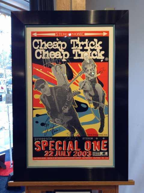 Vintage Cheap Trick Poster, Autographed and Framed